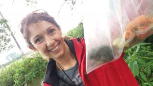 Emily and a water vole juvenile