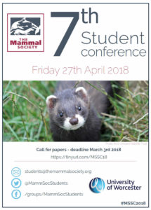 The Mammal Society 7th Student Conference – Call for papers